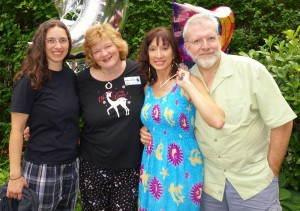 Left to right: Beth Clark, Kathryn Nicholson (Canuck Place music therapists), Diane Lines (vocals) and Tony Chamberlist (percussion, recording/mixing/mastering)