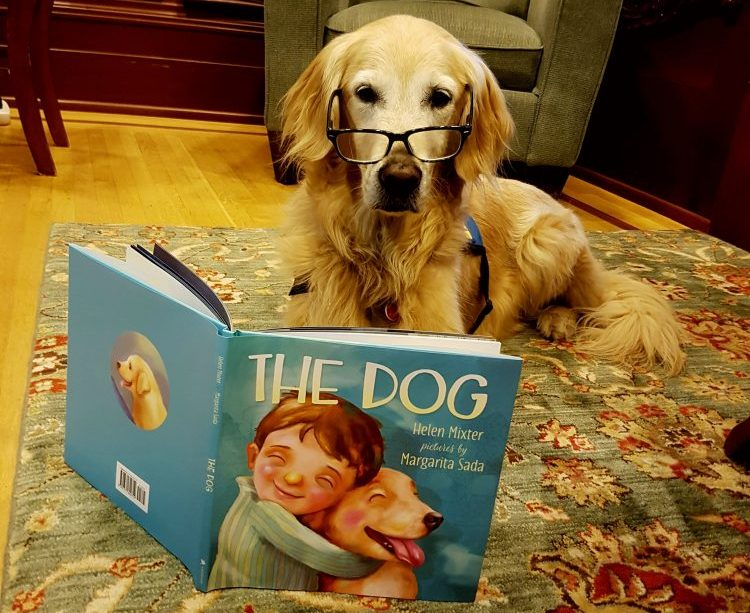 "Poppy reading ""The Dog"" book"